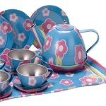 Floral Blue Tin Tea Set