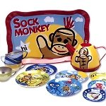 Sock Monkey Tin Tea Set